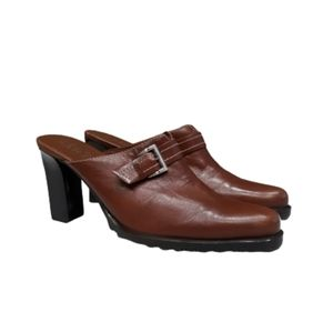 FRANCO SARTO BROWN LEATHER MULES